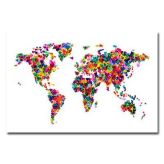 Trademark Fine Art 22 in. x 32 in. Love and Hearts World Map Canvas Art MT0014 C2232GG