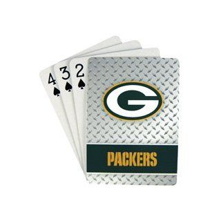 Green Bay Packers NFL Team Logo Standard Size Diamond Plate Pattern Poker Blackjack Crazy Eights Speed Playing Cards   52 Card Deck Plus 2 Jokers: Automotive