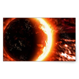 Planet on Fire   Hot Image Rectangle Stickers
