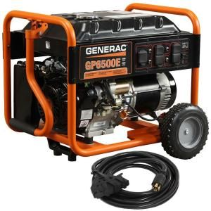 Generac GP6500E 6500 Watt Electric Start Gas Powered Portable Generator with Generator Cord 6515