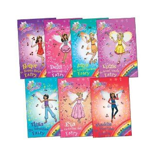 Rainbow Magic Princess Fairies Pack 7 Books (Anya Cuddly Creatures Fairy Demi the Dressing Up Fairy Elisa the Adventure Fairy Eva the Enchanted Fairy Honor the Happy Days Fairy Lizzie the Sweet Treats Fairy Maddie the Playtime Fairy) (106 107 108 109 110 1