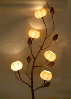 Mulberry Rice Paper Five Yellow Lantern Handmade Rustic Wall Mount Deco Flower Design Art Shade Pink Round Globe Brown Asian Oriental Decorative Bedroom Accent Home Decor Light Lamp