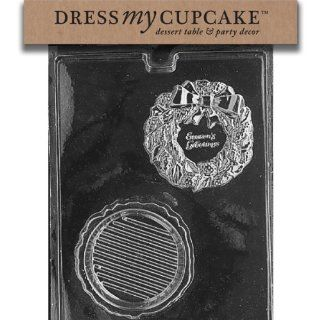 Dress My Cupcake DMCC162 Chocolate Candy Mold, Wreath Pour Box, Christmas Kitchen & Dining