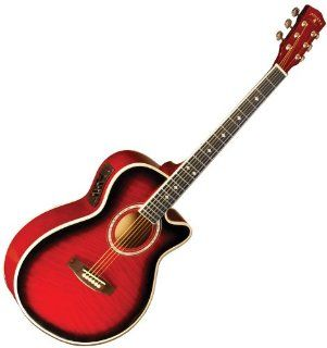 NEW MADISON FLAMED TRANS RED BURST ACOUSTIC ELECTRIC CUTAWAY GUITAR Musical Instruments