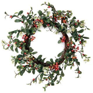 Melrose International Green Leaf Wreath with Orange Berries and Small Cream Flowers, 22 Inch   Artificial Wreaths