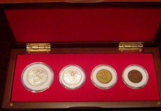 German World War 2 Coin Collection   Fine Wood Display Box Set with 4 German Coins   2 are Silver Reichsmark Coins   Delivered Completely Assembled