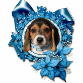 Christmas   Blue Snowflake   Beagle Puppy Cut Out