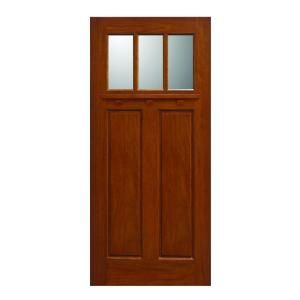 Main Door Craftsman Collection 3 Lite Prefinished Golden Oak Solid Mahogany Type Wood Slab Entry Door SH 703 GO