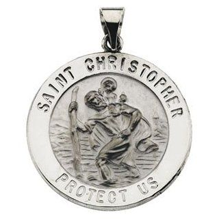 Round Saint Christopher Hollow Pendant in 14 Karat White Gold 25.50 MM: Jewelry