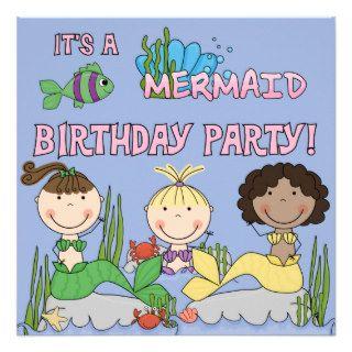 Mermaids (African American Girl) Birthday Invite