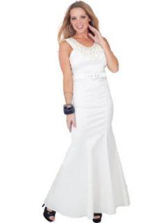 Sleeveless Scoop Neck Embellished Belted Full Length Elegant Formal Dress S M L at  Women�s Clothing store: