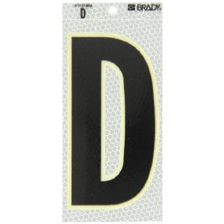 "Brady 3020 D 6"" Height, 3"" Width, B 309 High Intensity Prismatic Reflective Sheeting, Black, Glow In The Dark Border/Silver Color Glow In The Dark Or Ultra Reflective Letter, Legend ""D"" (Pack Of 10): Industrial Warning Signs: Industria"