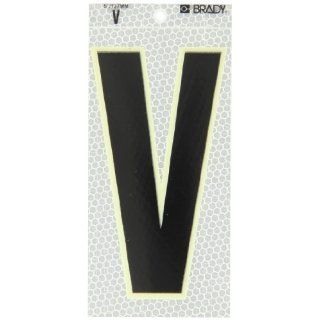 "Brady 3020 V 6"" Height, 3"" Width, B 309 High Intensity Prismatic Reflective Sheeting, Black, Glow In The Dark Border/Silver Color Glow In The Dark Or Ultra Reflective Letter, Legend ""V"" (Pack Of 10): Industrial Warning Signs: Industria"