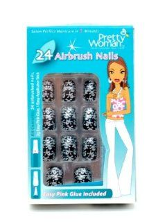PRETTY WOMAN AIRBRUSH NAILS #CPS322 BLACK WITH SILVER SKULLS  Beauty