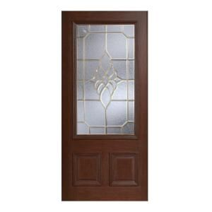 Main Door Mahogany Type Prefinished Antique Beveled Brass 3/4 Glass Solid Wood Entry Door Slab SH 556 ATQ B