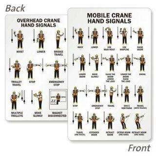 "Mobile Crane Hand Signals (Front) / Overhead Hand Signals (Back), 3.375"" x 2.125"": Industrial Warning Signs: Industrial & Scientific"