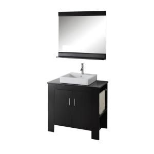 Virtu USA Tavian Right 36 in. Single Basin Vanity in Espresso with Solid Oak Vanity Top with Basin and Mirror DISCONTINUED MS 7036R ES