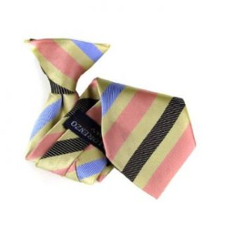 Pink   Blue   Gold   Brown Kids Clip On Necktie   11 inch: Clothing