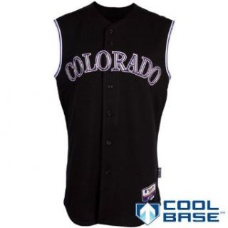 MLB Men's Colorado Rockies Six Button Cool Base Authentic Vest (Blk/Wht/Purp, 52/XX Large)  Sports Fan Jerseys  Sports & Outdoors