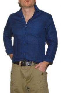 Polo Ralph Lauren Purple Label Mens Linen Dress Shirt Navy Italy XL Clothing