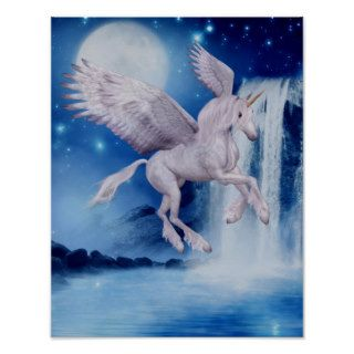 Flying Unicorn Waterfall Fantasy Horse Poster