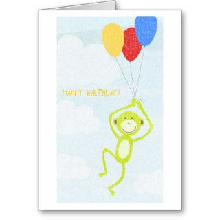 Happy Birthday Monkey (editable text) Greeting Cards