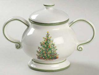 Christopher Radko Holiday Celebrations (Green Trim) Sugar Bowl & Lid, Fine China