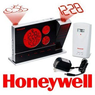 Honeywell PCR426W Dual Projection Weather Forecaster, Weather Station with Atomic Clock, Indoor/Outdoor Temperature, Glowing Soft Touch Keys & Continuous Projection & Backlight: Electronics
