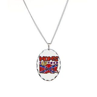 Necklace Oval Charm Mom's Lil' Rebel   Confederate Flag: Pendant Necklaces: Jewelry