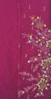 Exotic India Women's Metallic Thread Embroidered Flowers Sequins Salwar Kameez: World Apparel: Clothing