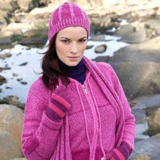 Ladies Nua Merino Wool & Silk Pink Irish Cardigan   Fast Delivery from Ireland