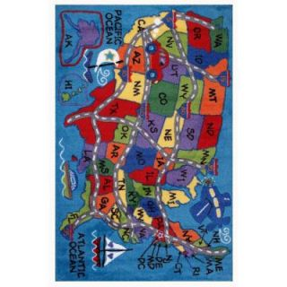 LA Rug Inc. Supreme Travel Fun Multi Colored 5 ft. 3 in. x 7 ft. 6 in. Area Rug TSC 138 5376