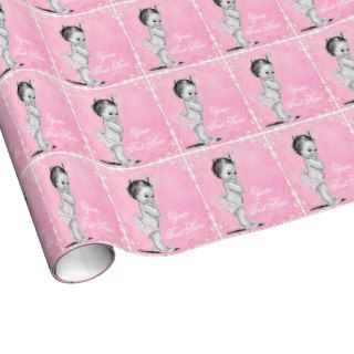 Vintage Pink Baby Girl Shower Wrapping Paper