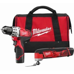 Milwaukee M12 12 Volt Lithium Ion Cordless Drill Driver/Multi Tool Combo Kit (2 Tool) 2495 22