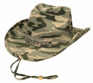 Harley Davidson Mens Embroidered H D HD 465 Camo Cotton Outback Hat Clothing