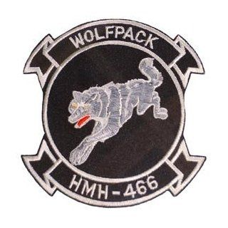 USMC Marine Corps Military Embroidered Iron On Patch   Wolf Pack HMH 466 Applique: Clothing