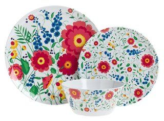Zak Designs Wildflower 12 Piece Dinnerware Set, Service for 4: Kitchen & Dining