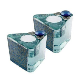 "Shabbat Sabbat Candle Holders / Sticks Travel Modern Triangle Shape Blue Decoupage Glass Metal & Stones Hand Made In ISRAEL By Lily Art 2.25"" x 2.25"" x 2.0"" . Great Gift For: Yom Kippur Rosh Hashanah Sabbath Purim Sokot Simchat Torah Han"