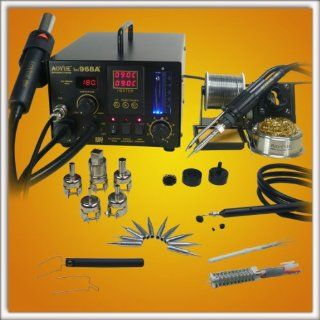 NEW!! Updated Aoyue 968A+ SMD Digital Hot Air Rework Station, 4 in 1 station has Hot Air, a 70 Watt Soldering Iron, vacuum pickup tool and a built in smoke absorber   500 Watt Heater   5 nozzles   10 Soldering Iron Tips  Spare Heating Elements