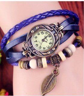 WAWO Quartz Fashion Weave Wrap Around Leather Bracelet Lady Woman Wrist Watch (Blue leaf): Watches