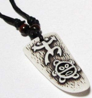 Coqui Taino and Sun Taino Necklace   Taino Symbols   Tribal Frog Necklace   Jewelry   Adjustable Black Cord   Colors of the Pendant: Bone White with Black Details: Everything Else