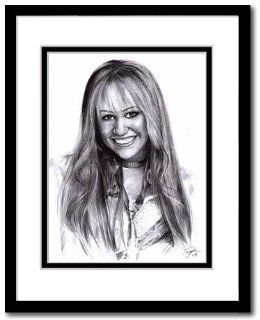 "Miley Cyrus as Miley Stewart in Hannah Montana Sketch Portrait, Charcoal Graphite Pencil Drawing Poster   11"" x 14"" Framed Print (WU232)"