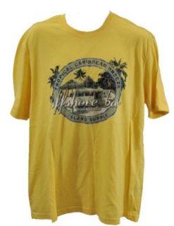 NEW Caribbean Joe Mens S/S Crew Neck Shirt Yellow Offshore Bar Graphic Yellow L at  Men�s Clothing store