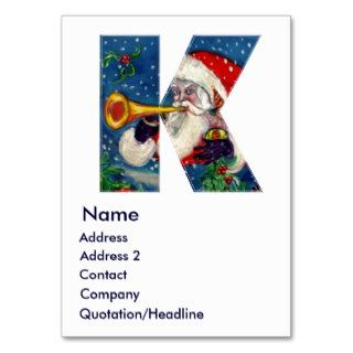 CHRISTMAS K LETTER / SANTA BUGLER MONOGRAM BUSINESS CARD TEMPLATE