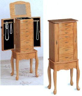 Queen Anne Style Light Oak Wood Finish Jewelry Armoire by Coaster Furniture