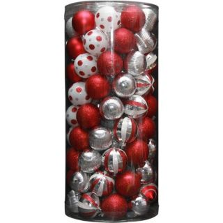 Holiday Time 101 Piece Shatterproof Christmas Ornament Set, Red Christmas Decor