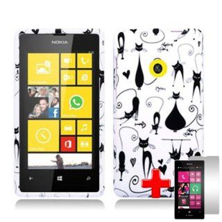 Nokia Lumia 521 (T Mobile) 2 Piece Snap on Rubberized Image Case Cover, Black Fancy Cats/Hearts White Cover + LCD Clear Screen Saver Protector Cell Phones & Accessories
