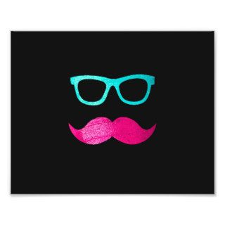 Funny Pink mustache teal hipster glasses Black Photograph