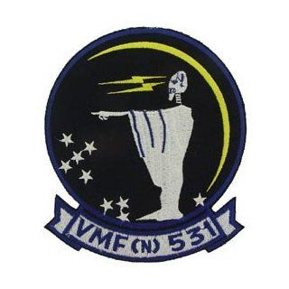 USMC Marine Corps Military Embroidered Iron On Patch   Alien w/ Lightning Bolts VMF (N) 531 Applique: Clothing