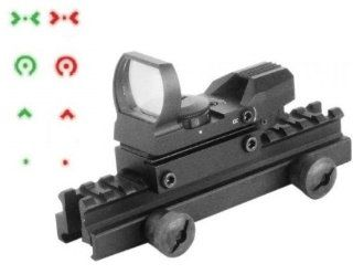 "Global Sportsman QD Tactical 1"" Weaver Picatinny High See Thru Stanag Riser Mount For AR15 M4 Flattop Rifle Scope + CQB 4 Multi Reticle Dual Red / Green Extreme Ops Edition Open Reflex Sight with Weaver Picatinny Rail Mount   Combo Combination Package"